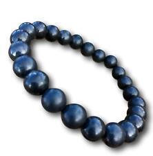 Black Shungite Energy Bracelet - Polished 8mm Round Beads - Elastic Stretch Band