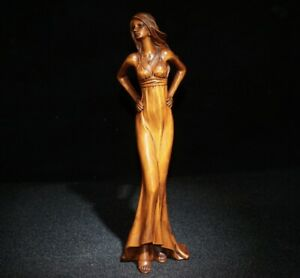 collection Chinese Natural Boxwood Handmade Beautiful girl Statue
