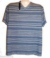 Elie Tahari Dark Blue White Stripes Men's V-Neck Cotton Shirt Size L NEW