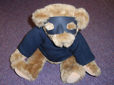 "Vermont Teddy Bear Love Bandit Bear Jointed 16"" Plush Toy w/ Mask & Shirt & Tags"