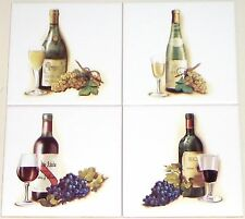"Wine and Grapes Ceramic Accent Tiles 6.00"" Kiln Fired Decor for Back Splash"