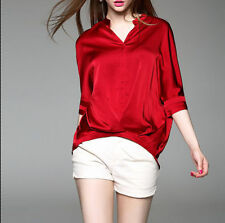 Unbranded Satin Regular Size Tops & Blouses for Women