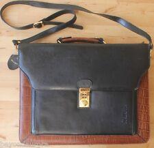 Belle Rose Black & Brown Faux Leather Croc Messenger Bag Laptop Briefcase