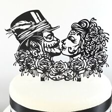 Gothic Rock Day Of The Dead Rose Wedding Cake Topper