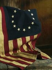 "TEA-DYED BETSY ROSS FLAG 17X28"" AGED PRIMITIVE PATRIOTIC AMERICAN"