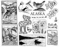 Unmounted Rubber Stamps Sheets,  Alaska, Whale, Moose,  Eskimos, Wildlife Stamps