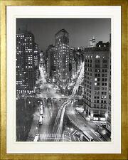 Flatiron Building at Night New York. Framed Poster  Photo Print. Wood Gold Frame