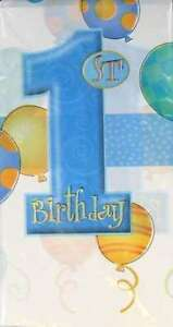 1st Birthday Blue Balloons Party Table Cover