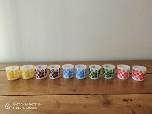 10 petites tasses Arcopal déco Fleur vintages