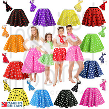 "GIRLS Kids 12"" PINK POLKA DOT ROCK N ROLL 50s SKIRT & SCARF FANCY DRESS COSTUME"