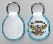 ST. THOMAS V.I. EMBROIDERED FABRIC KEY CHAIN/FOB BRAND NEW