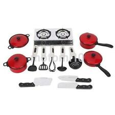13 Piece Pots and Pans Kitchen Cookware Playset Kids Young Chef Pretend Play US