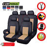 Universal Car Seat Covers Beige PU Leather Waterproof 3 zippers for SUV TRUCK