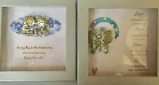 Lot of 2 Boxed Inspirational Pin Brooch Butterfly Frog Rhinestones Great Gifts!