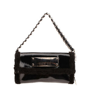 WHO*S WHO Clutch Bag Wallet Varnished Panel Sherpa Trim Chain Strap Popper Flap