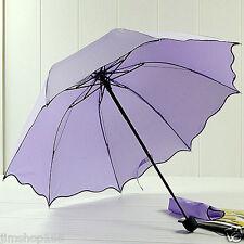 Windproof Flouncing Folding Lotus Leaves Princess Dome Parasol Sun/Rain Umbrella