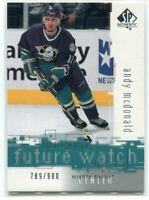 2000-01 SP Authentic 92 Andy McDonald Rookie 789/900 FW Future Watch
