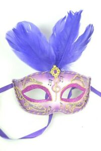 Mask Fancy Dress Ball Purple Deep Lilac and Gold with Gold Glitter effect