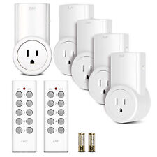5 Pack Wireless Remote Control Power Outlet Light Switch Plug Socket W/2 remotes