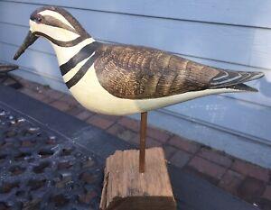 Folk Art Carved Painted Wood Bird Decoy Coastal WEK William E Kirkpatrick