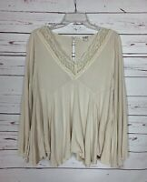 Umgee USA Boutique Women's S Small Ivory Beige Lace Bell Sleeve Top Blouse Shirt