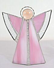 Engel Glas rosa vintage shabby Weihnachtsengel Teelichthalter Advent Bleiglas