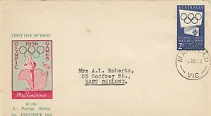 Stamp Australia 1954 Olympic Games 2/- publicity on Haslem cachet FDC, MANIFOLD