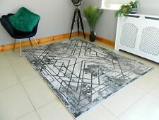 SHINY MARBLE EFFECT MODERN SILVER GREY HEAVY LARGE AREA RUG RUNNER MAT CARPET
