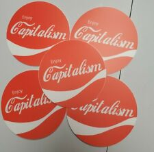 "CAPITALISM STICKERS 5 PACK LOT VINTAGE COCA-COLA PRO CAPITALISM LIBERTY 🗽 3"""
