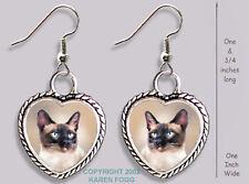 SIAMESE Cat - HEART EARRINGS Ornate Tibetan Silver