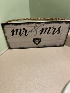 Mr. And Mrs. OAKLAND RAIDERS Football NFL DISTRESSED  Wood Sign 12 x 6 Inch