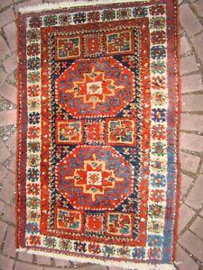 Antique Persian Kurdish Rug Caucasian pattern long pile