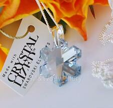 925 STERLING SILVER NECKLACE CRYSTALS FROM SWAROVSKI® SNOWFLAKE BLUE SHADE 20mm
