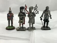 WAPW British Soldier Pewter Figurines. Knight, Scots Pipers, Oliver Cromwell