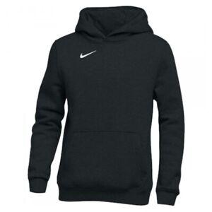 Nike Boy's CLUB FLEECE PULLOVER HOODIE - BLACK/WHITE 83630-010 NWT
