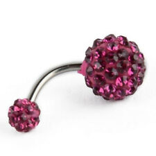 Crystal Rhinestone Ball Navel Dangle Button Belly Ring Bar Body Piercing Jewelry