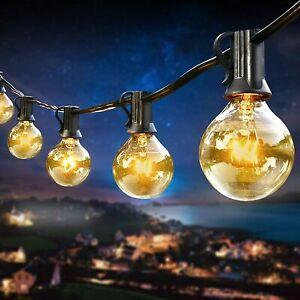 100FT Outdoor Globe Festoon String Lights  Mains Powered 50 G40 Bulbs Warm White