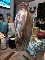 "Murano Art Glass Vase 4 shades of Purple and gold 11"" Tall Vase, Collectors Vase"