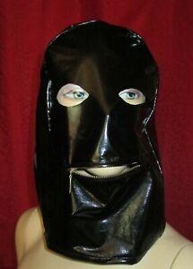 Lackmaske mit Mundreißverschluß Unisex Vinylmask with Mouthzipper,Wetlook