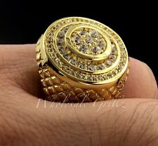 NEW $149 14k Gold gp Simulate Diamond Iced Hiphop Mens Pave Pinky Ring Bling out