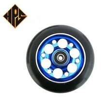 2X PRO STUNT SCOOTER BLUE DRILLED METAL CORE WHEEL 100mm 88A ABEC 9 BEARINGS 11