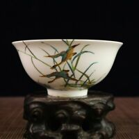 "5.3"" Collect Chinese Porcelain Famille Rose Flowers and Birds Small Bowl"