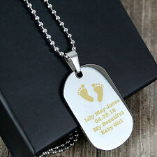 Personalised Mens Dog Tag Stainless Steel Necklace New Father Dad New Baby Gift