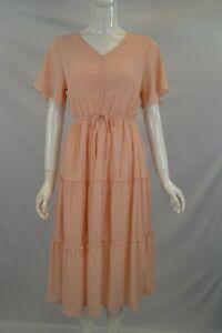 Women Girls Plain Colour Tie Front Tiered Ruffle Short Sleeve Midi Dress S M L