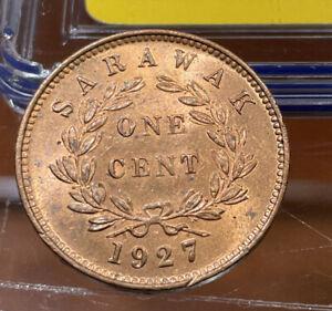 1927 Sarawak One Cent, Rajah C.V.Brooke, Lustrous, High Grade