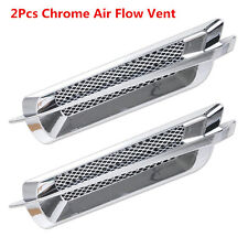 2Pcs Euro Style Chrome Side False Vent Car Air Flow Intake Fender Grille Cover
