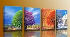 "4 Pcs 12"" x 16"" Print Art 4 Seasons Framed Canvas Oil Paint Wall Decor Picture"