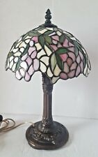 Tiffany Style Stained Glass Lamp Bronze Tone Base Numbered Shade 1920s Roses