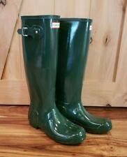 NEW HUNTER Original Tall Gloss Hunter Green Rain Boots Size 8 US