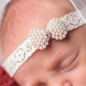 Mini Pearl & Rhinestone Bow Lace Headband